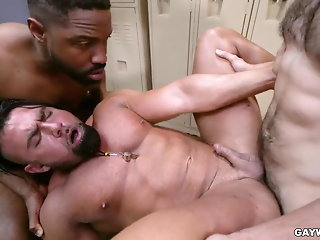 interracial bareback locker room